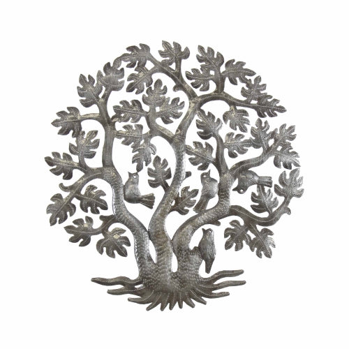 Tree of Life Three Trunks Haitian Metal Drum Wall Art, 14""