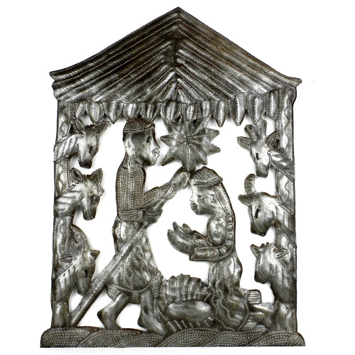 "CLEARANCE Nativity in Stable Haitian Metal Drum Wall Art (10"" x 14"")"