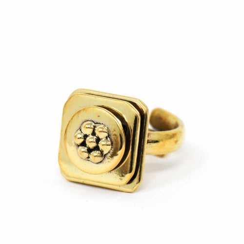 Floral Abstract Adjustable Brass Ring - Pack of 3