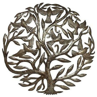 Tree of Life and Birds in Flight Haitian Metal Drum Wall Art, 24""