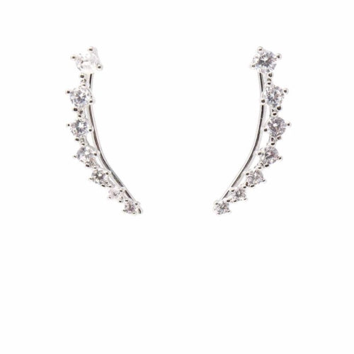 Earrings: Silver and Rhinestone Crawler