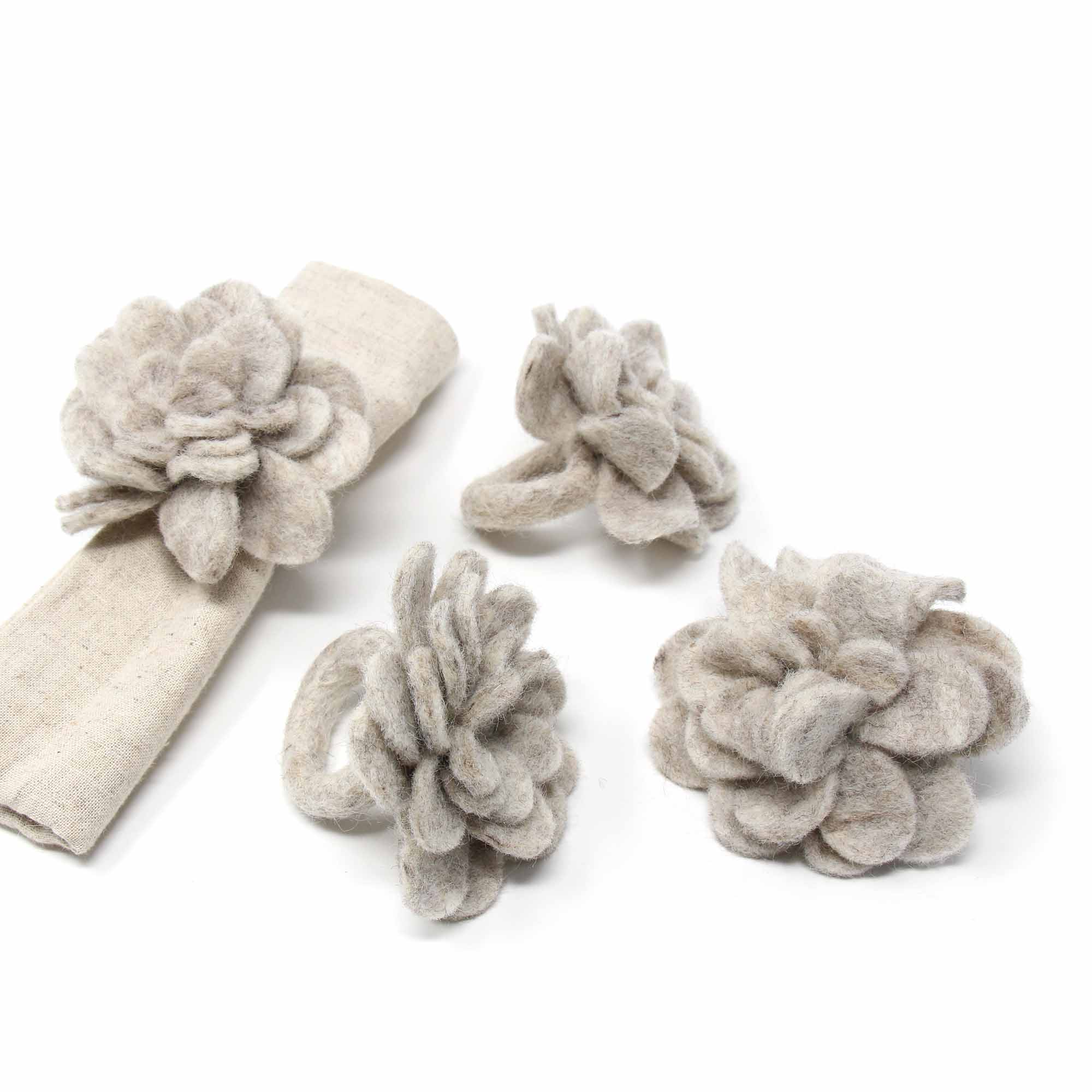 Hand Crafted Felt from Nepal: Set of 4 Napkin Rings, Light Grey Zinnias