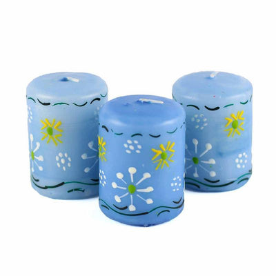 Hand-Painted Blue Votive Candles, Boxed Set of 3 (Masika Design)