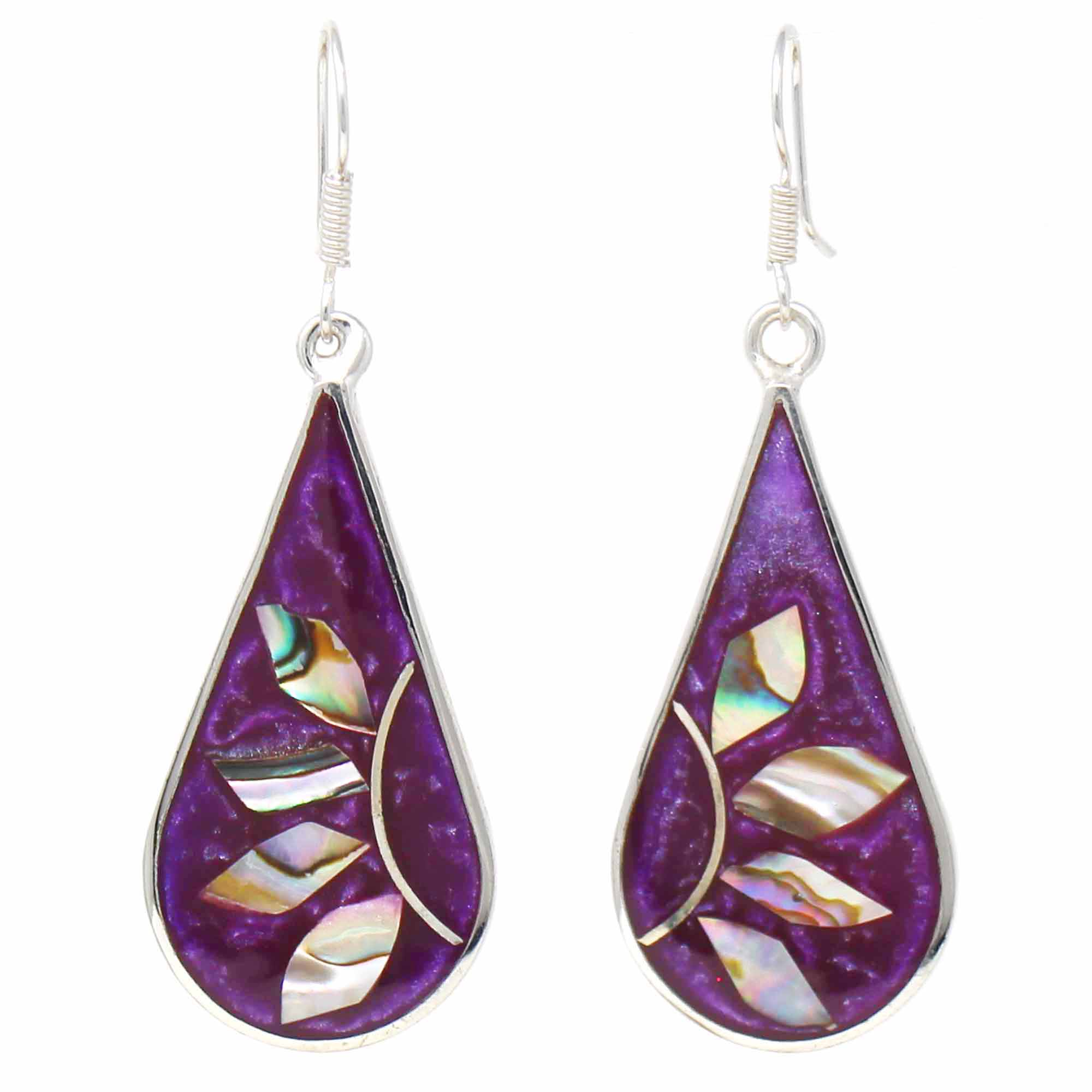 Deep Purple with Abalone Petals Teardrop Earrings