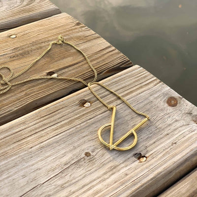 Brass Intersect Necklace