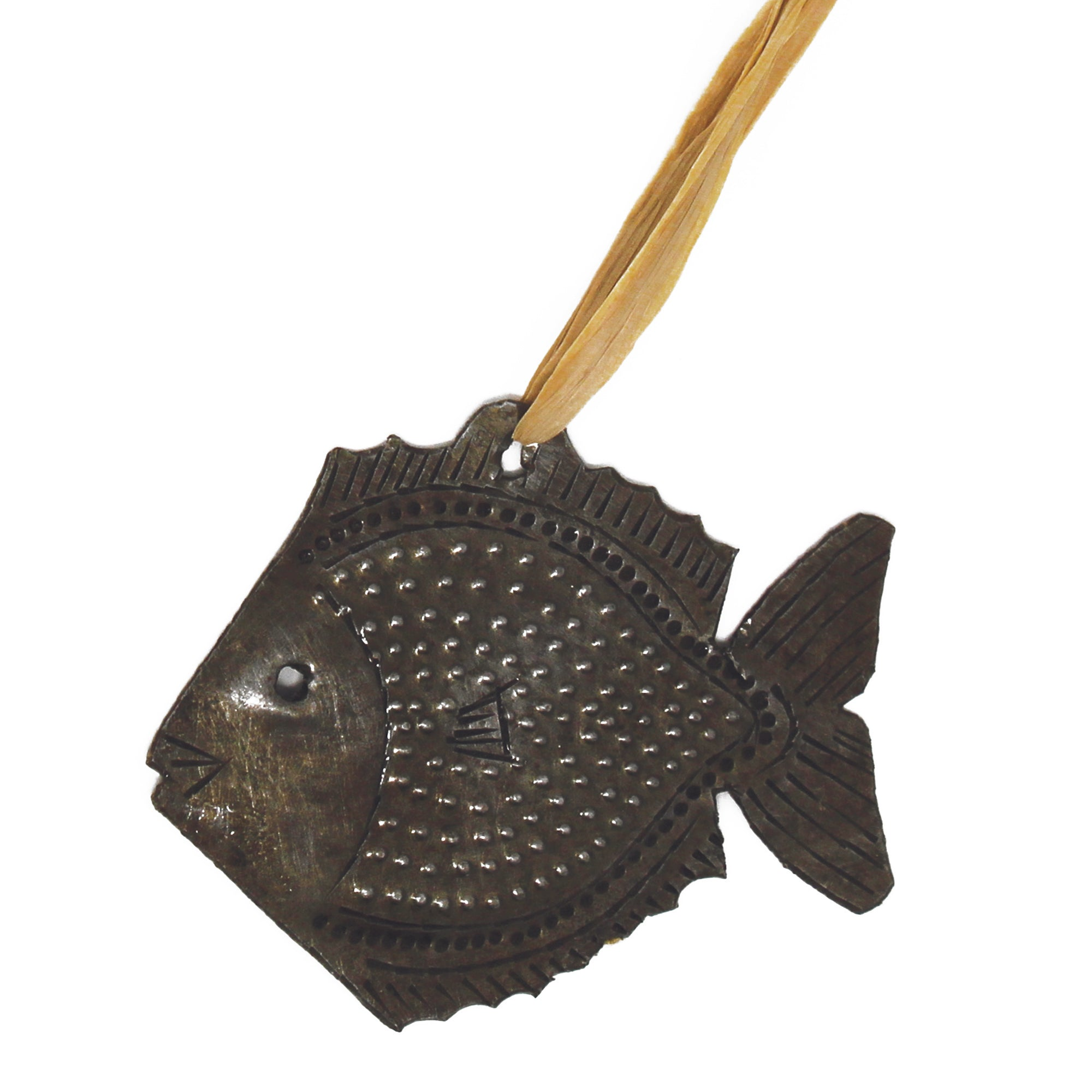 Fish Nautical Haitian Metal Drum Christmas Ornament