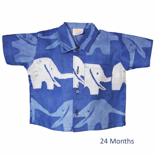 Baby Button Down Shirt - Blueberry Elephants - 24M