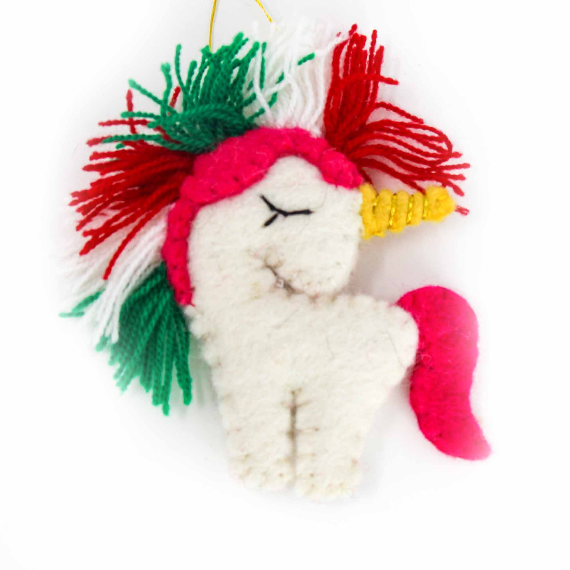 Christmas Unicorn Felt Ornament