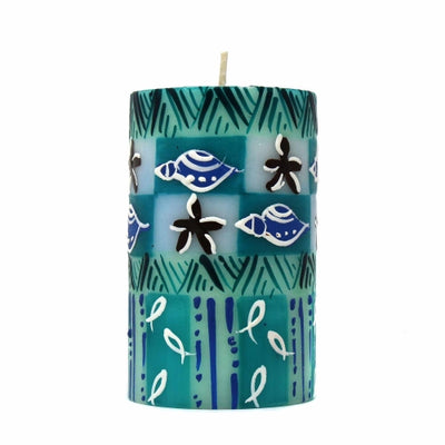Hand-Painted Pillar Candle in Gift Box, 4-inch (Samaki Design)