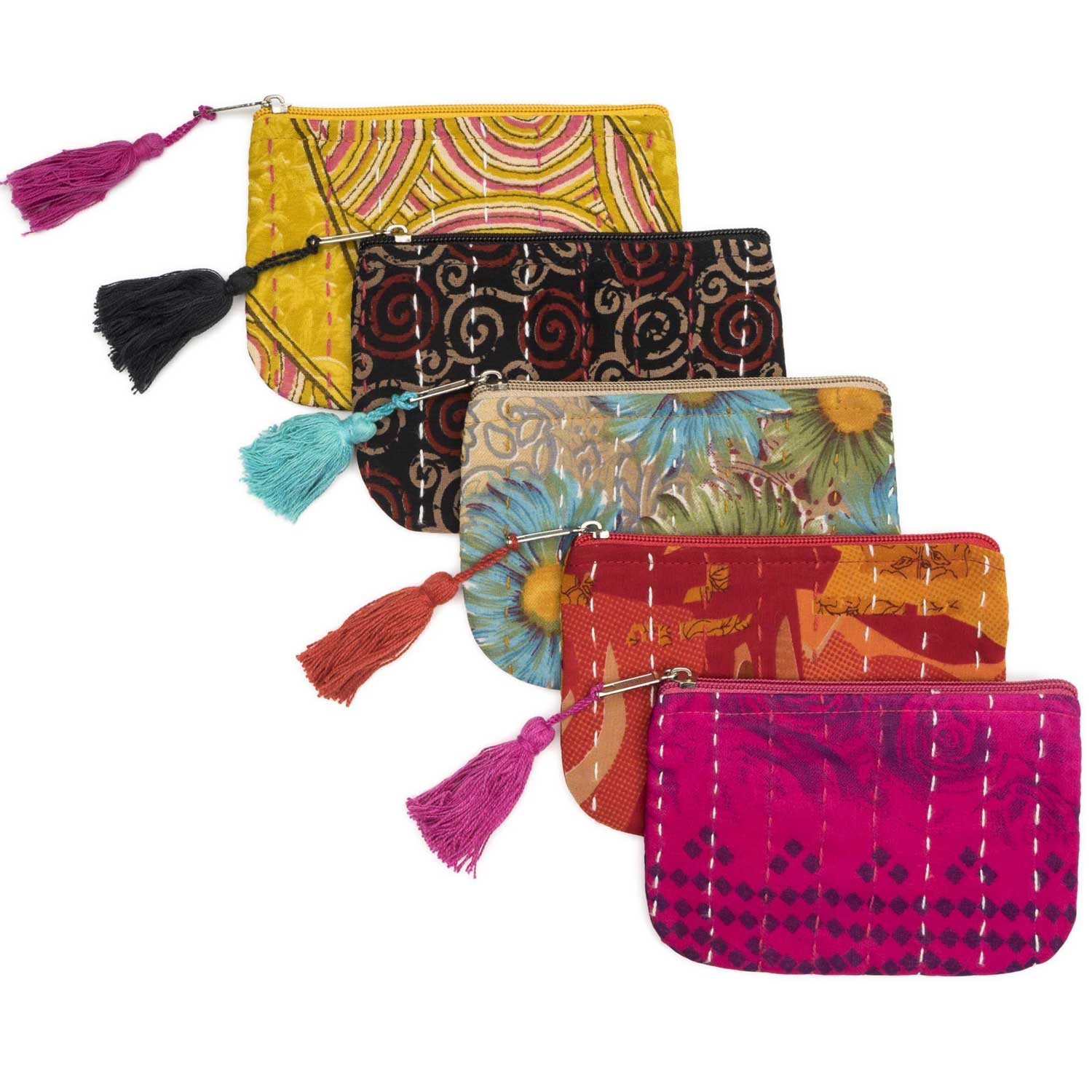 Kantha Sari Coin Purse Assorted - Sold Individually