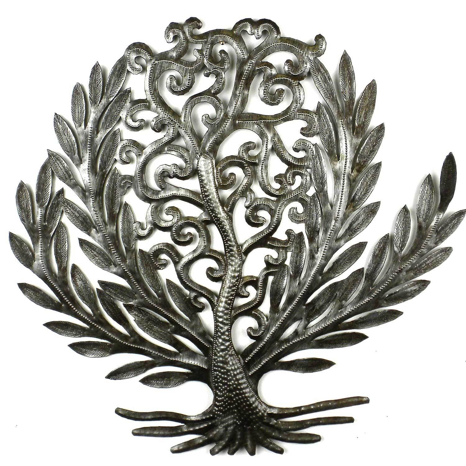 CLEARANCE Tree of Life Laurel Leaf Haitian Metal Drum Wall Art, 14""