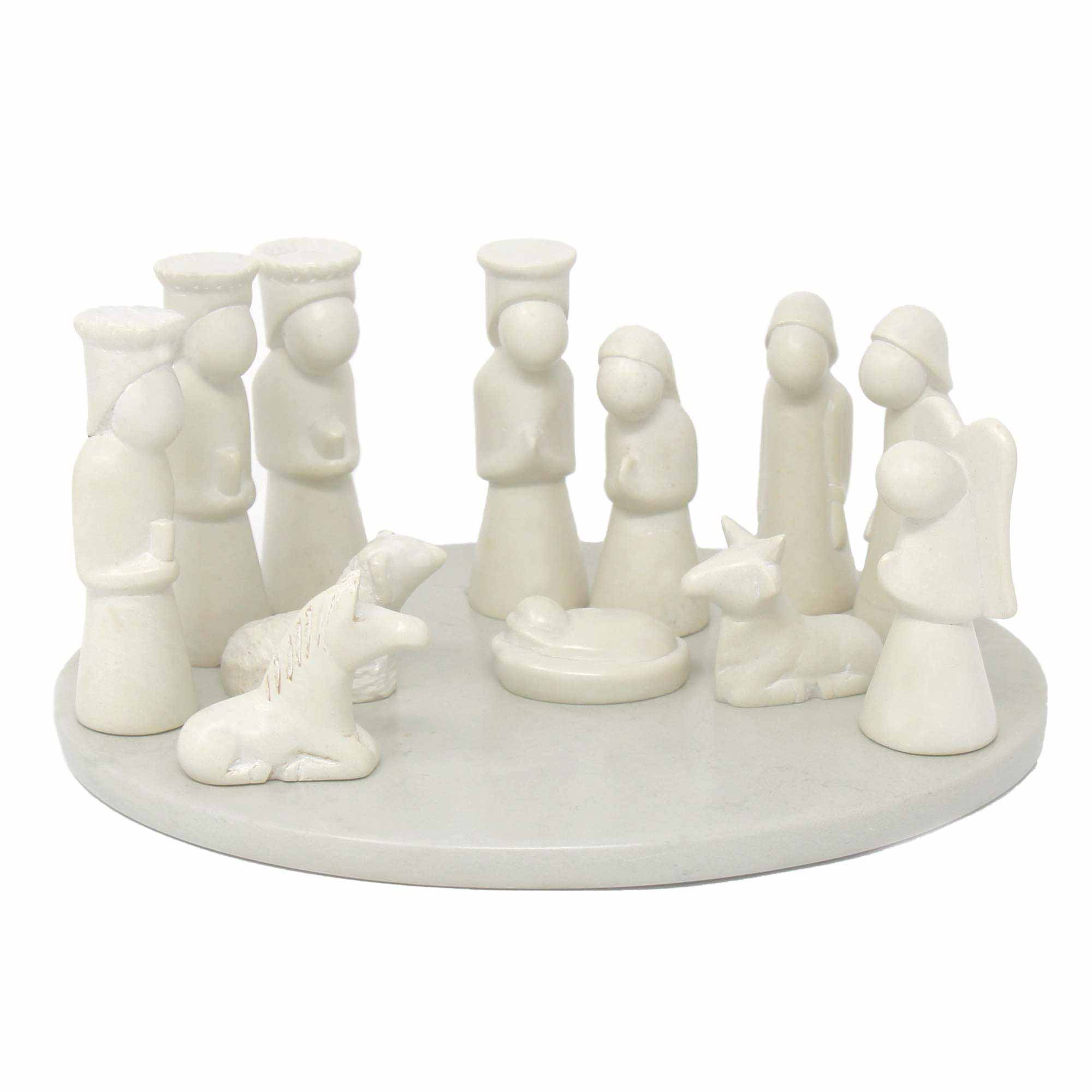Nativity Soapstone Sculpture, 13-Piece Set (including Display Board)