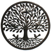 Birds on Roots Tree of Life Ringed Haitian Metal Drum Wall Art, 23""