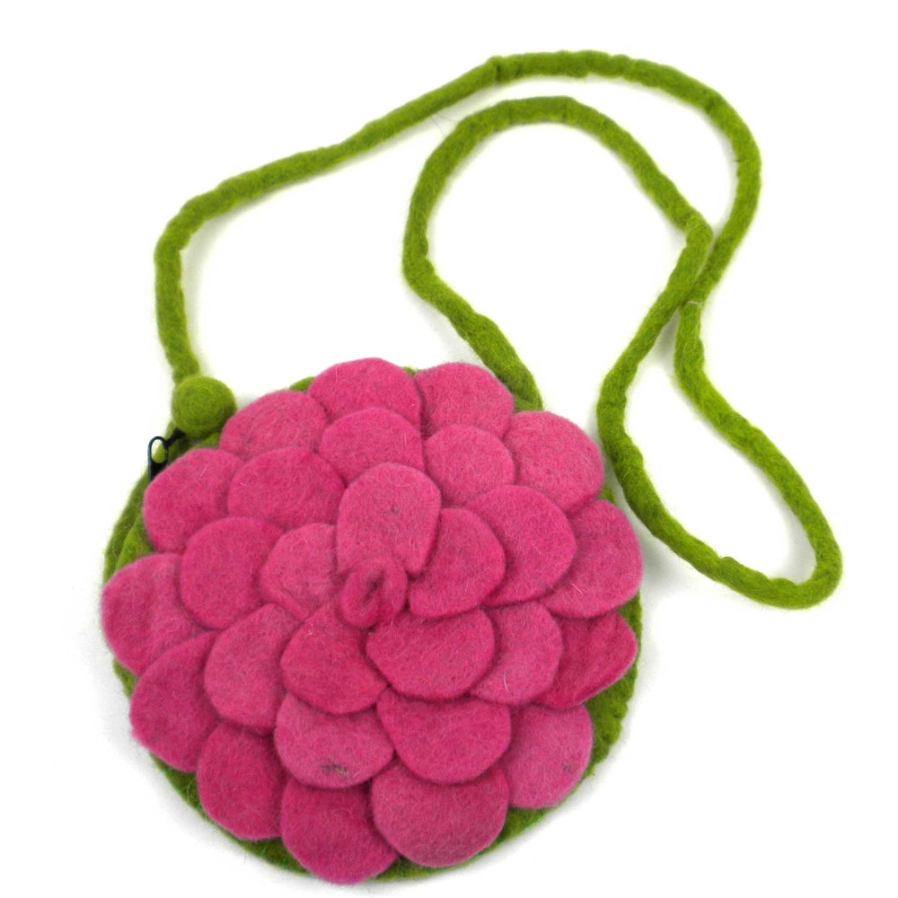 Hand Crafted Felt from Nepal: Shoulder Bag, Pink Rose