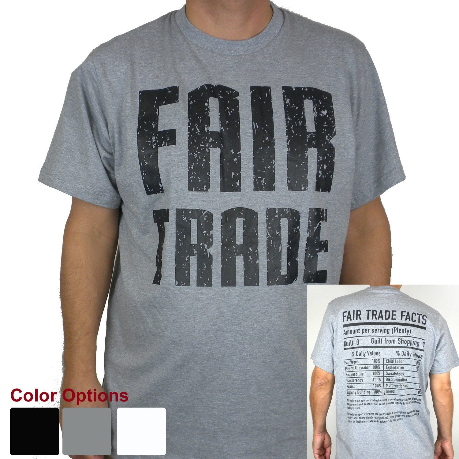 Gray Tee Shirt Unisex FT Front - FT Facts on Back - Small