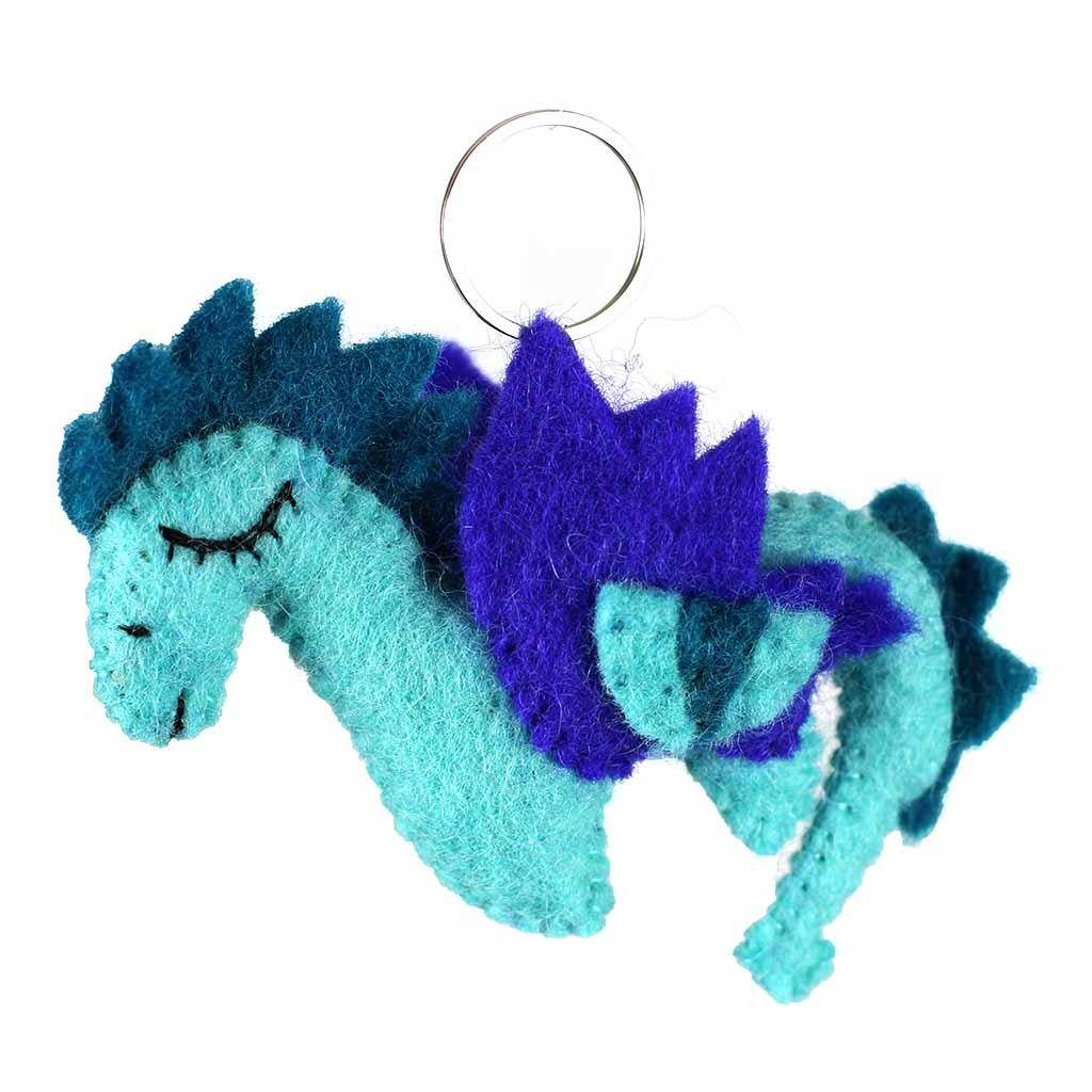 Hand Crafted Felt from Nepal: Key Chain, Felt Dragon