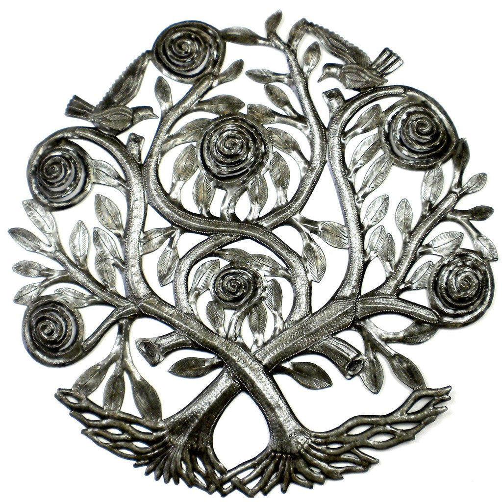 CLEARANCE Flowering Double Tree of Life Haitian Metal Drum Wall Art, 23""