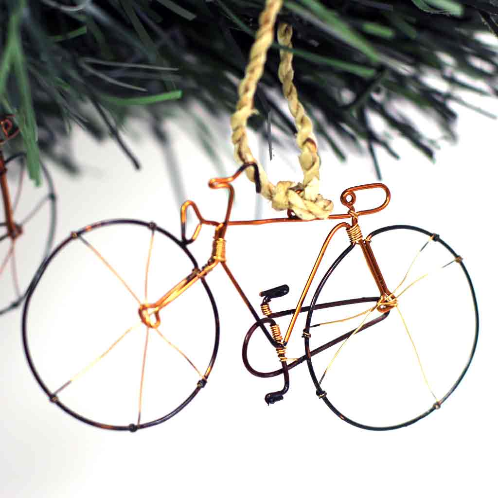 Recycled Wire Bicycle Ornament - Pack of 10