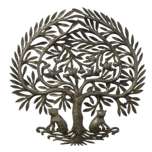 Tree with Two Cats Metal Wall Art
