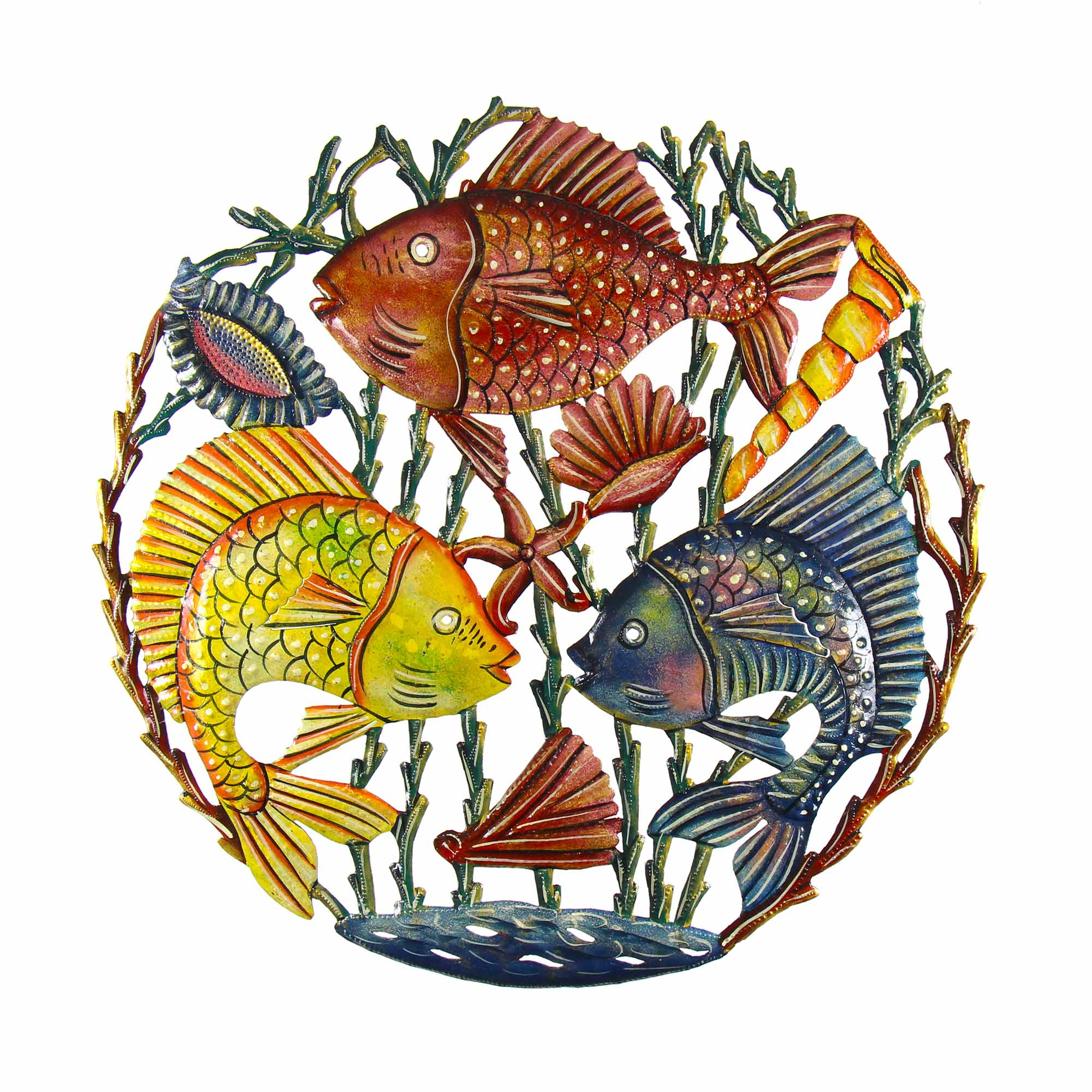Trio of Fish Nautical Haitian Metal Drum Wall Art, 21""