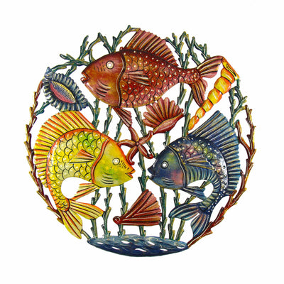 Trio of Fish Painted Drum Art -24 inch
