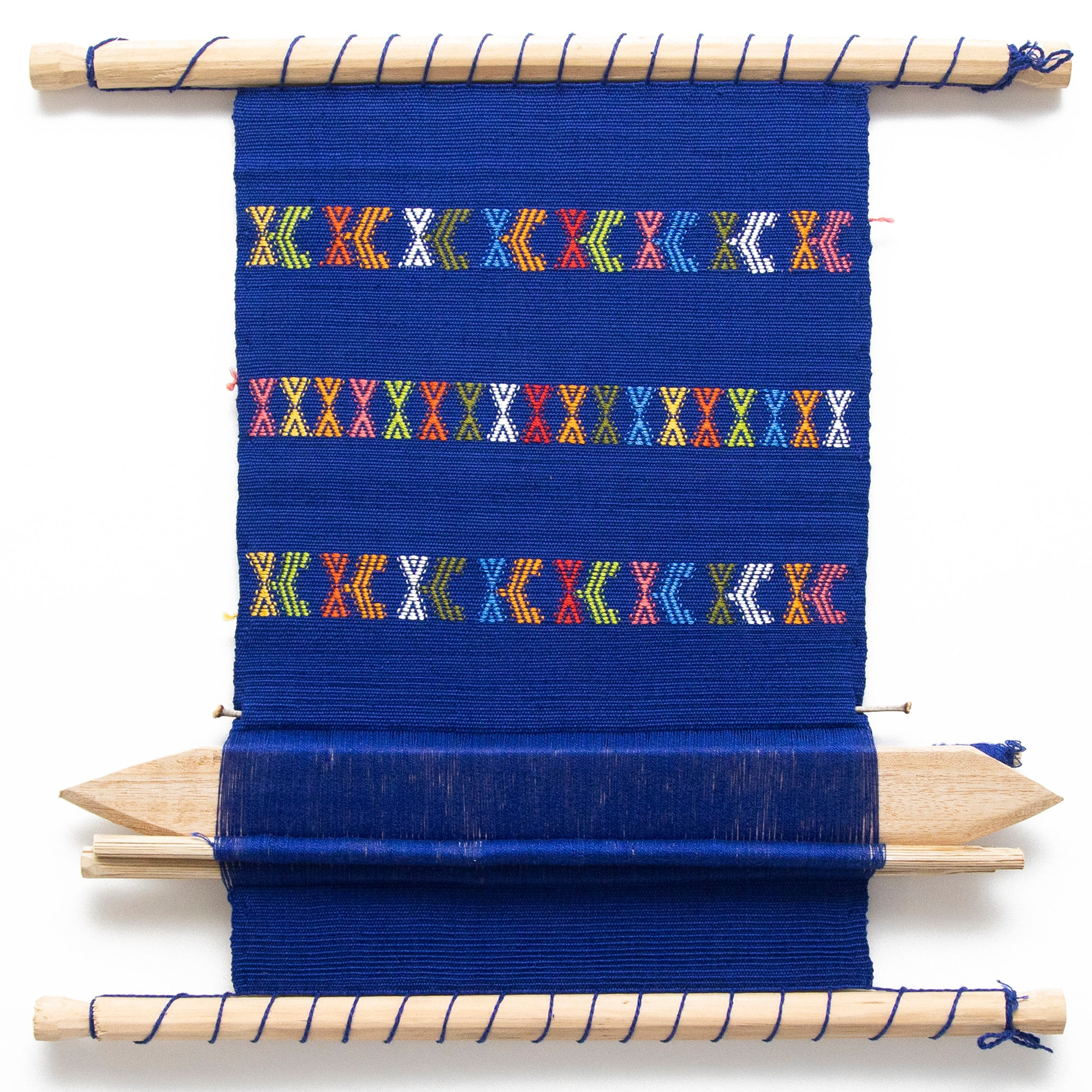 Guatemalan Hand Loom Wall Tapestry, Blue and Primary Colors
