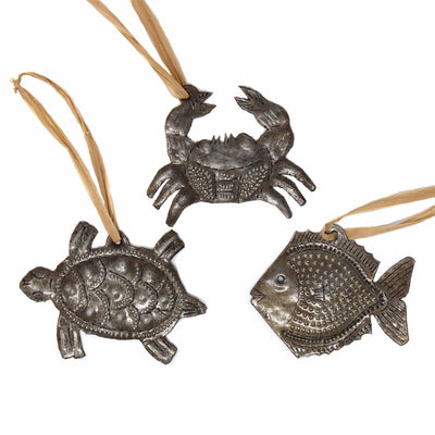 Set of 3 Coastal Sea Creatures Nautical Haitian Metal Drum Christmas Ornament