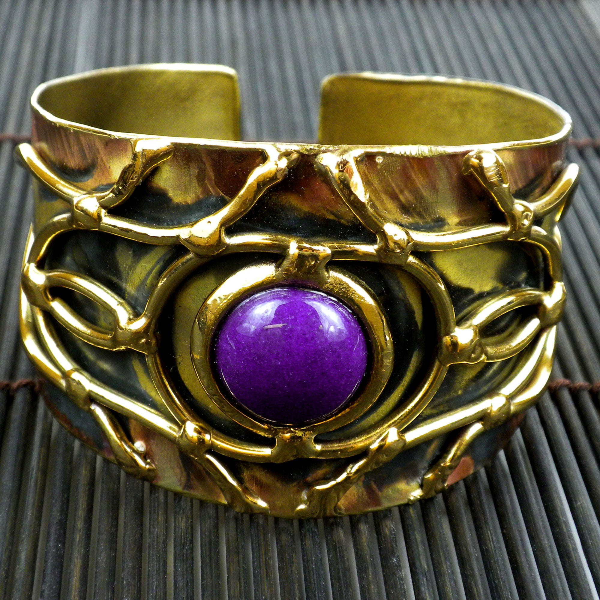 Purple Jade Abstract Cuff