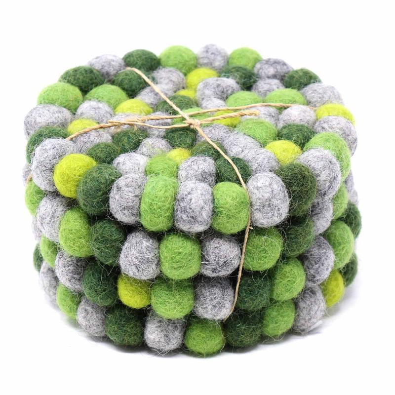 Hand Crafted Felt Ball Coasters from Nepal: 4-pack Chakra, Greens