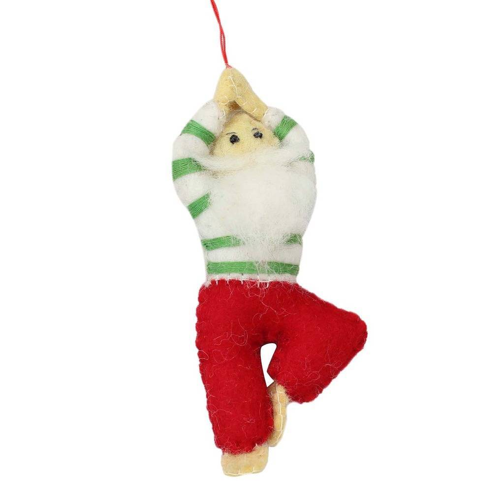 Hand Crafted Felt from Nepal: Ornament, Yoga Santa