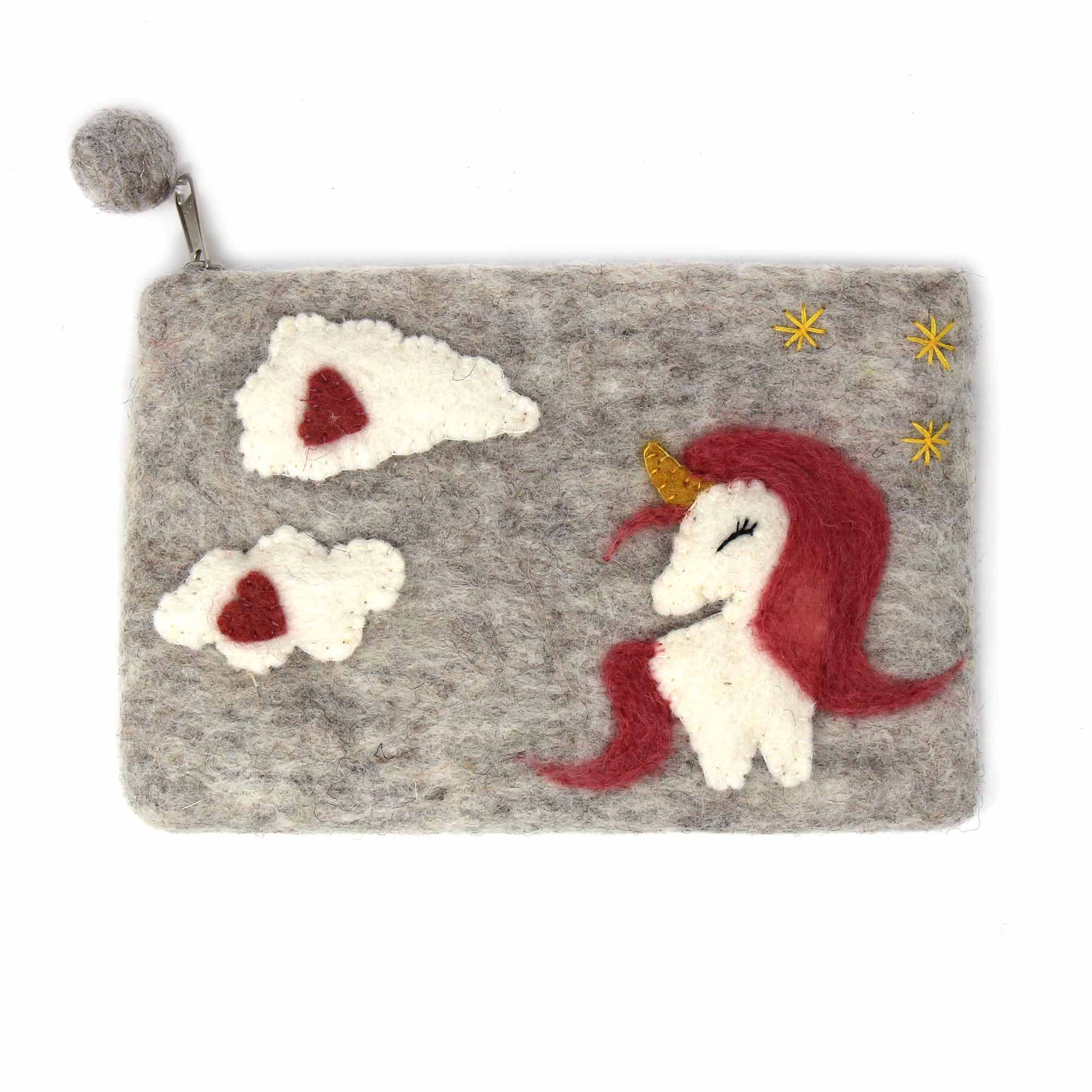 Unicorn Felt Zipper Pouch