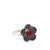 Mexican Taxco Red Rosette Silver-Plated Ring