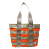 Recycled Handmade Rover Industrial Seatbelt Tote, Orange and Yellow