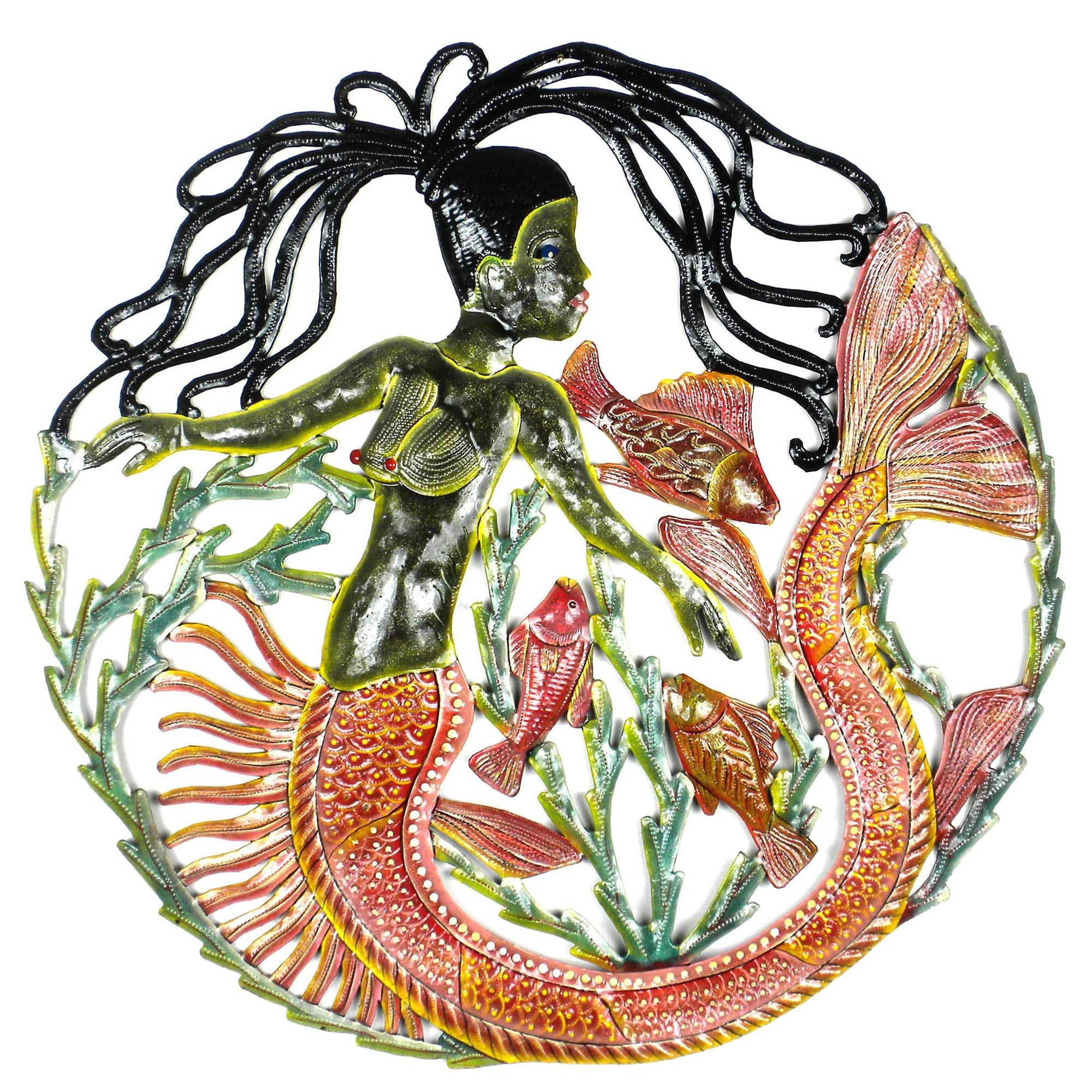 CLEARANCE Mermaid & Fish Facing Left Haitian Metal Drum Wall Art ,24""