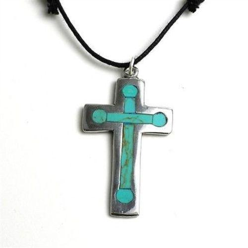 Silver Cross Pendant With Inlaid Turquoise