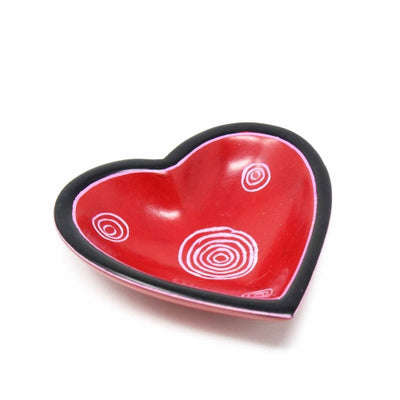 Soapstone Heart Bowls - Small 3.5 inch with Traditional Designs