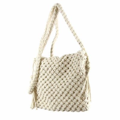 Macrame Shoulder Bag, Cream with Fringe