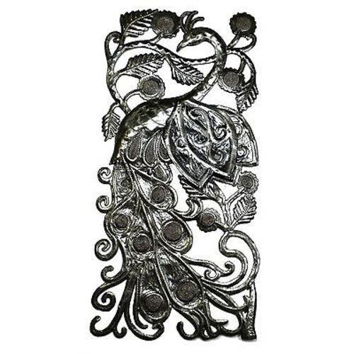 "CLEARANCE Peacock Haitian Metal Drum Wall Art (11"" x 23"")"