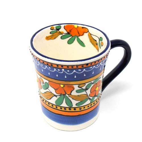 Flared Coffee Mug, Orange Flower - 10 oz.