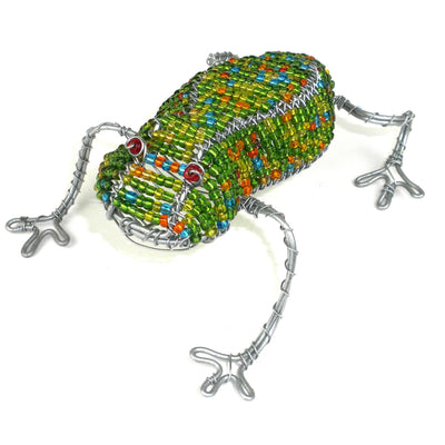 Beaded Frog - 4 inches - Colors Vary