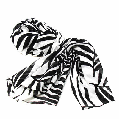 Printed Black and White Leaves Design Cotton Scarf