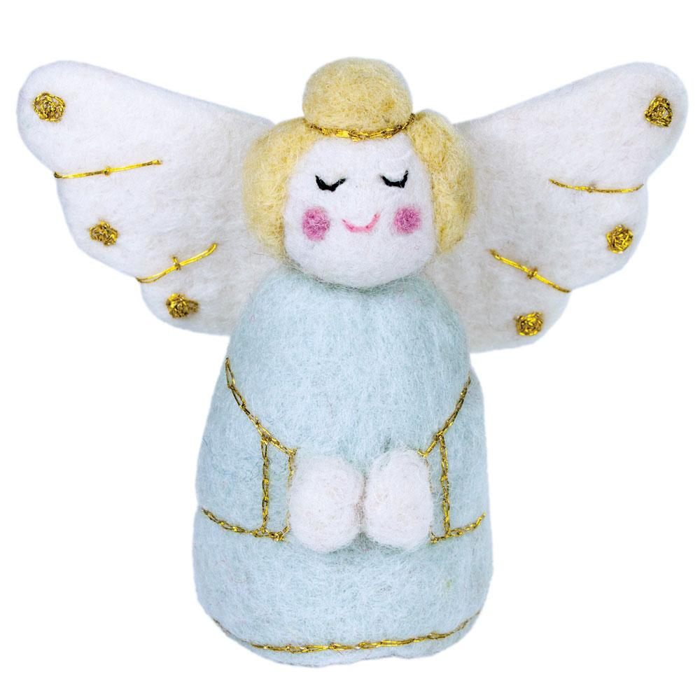 Blue Golden Angel Felt Ornament