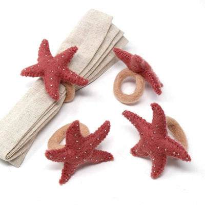 Dark Rose Starfish Felt Napkin Rings, Set of 4