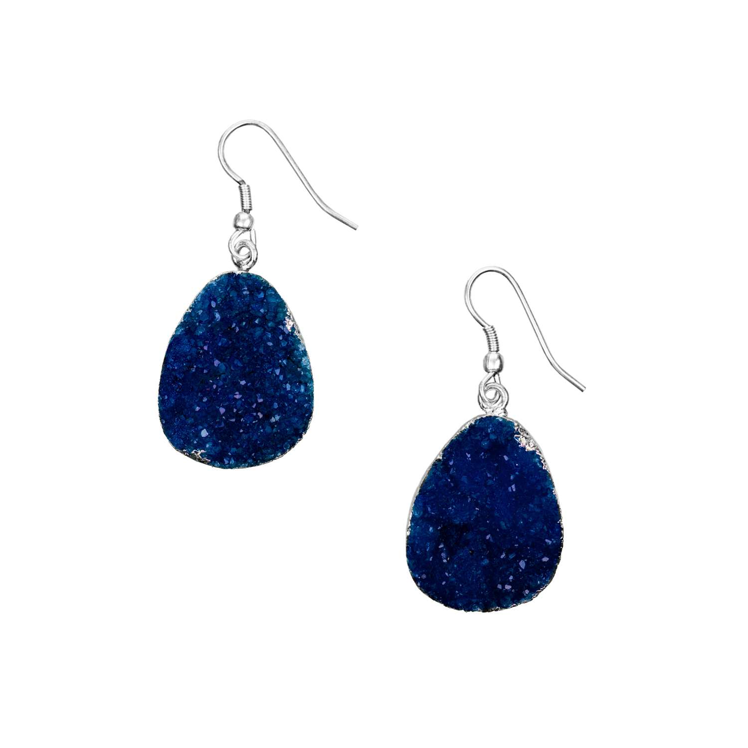 Rishima Druzy Drop Earrings - Dark Blue Silver