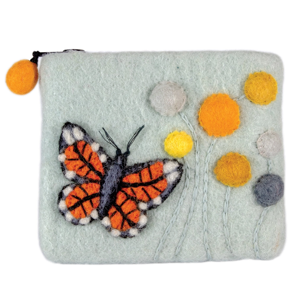 Felt Coin Purse - Monarch Butterfly
