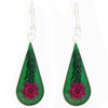 Pressed Pink Flower Teardrop Earrings