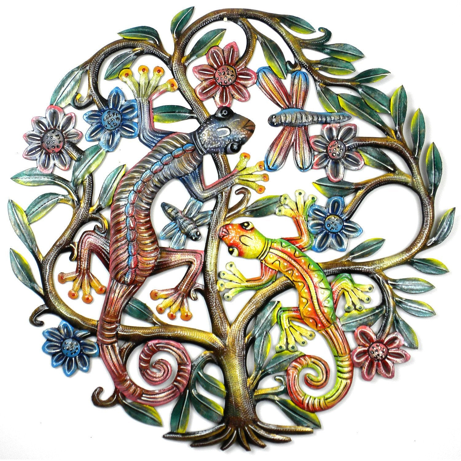Tree of Life with Gecko Haitian Metal Drum Wall Art, 24""