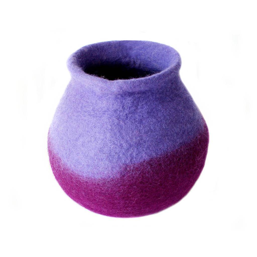 Purple Felt Flower Vase
