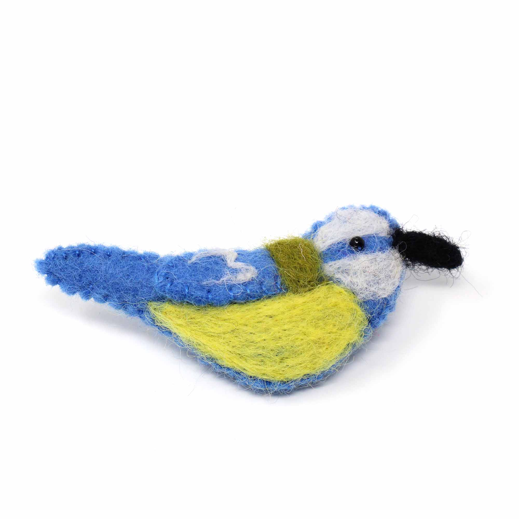 Hand Crafted Felt from Nepal: Bird Brooch, Blue and Yellow