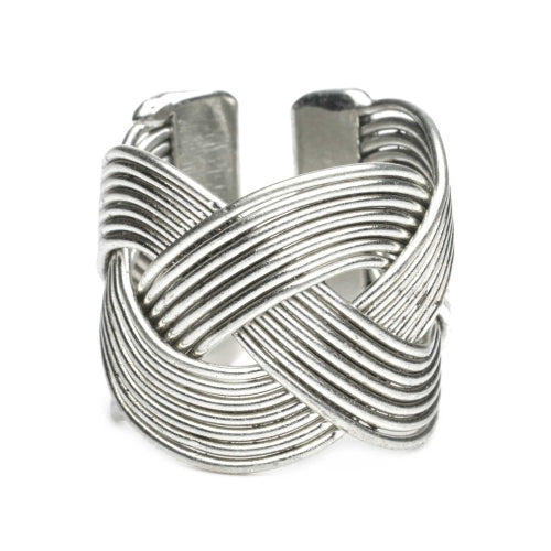 Crown Braid Ring - Silver tone -Set of 6